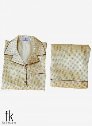 Cream Dot Silk Sleepwear for you to look classy