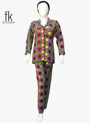Color Squares Printed design Graceful Nightsuit