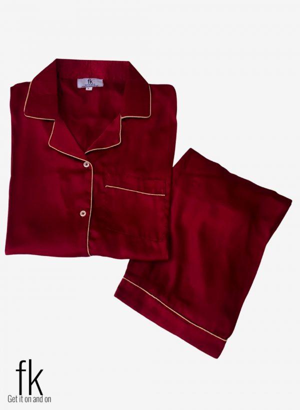 Mehroon Silk Beautiful Nightwear for Stylish women