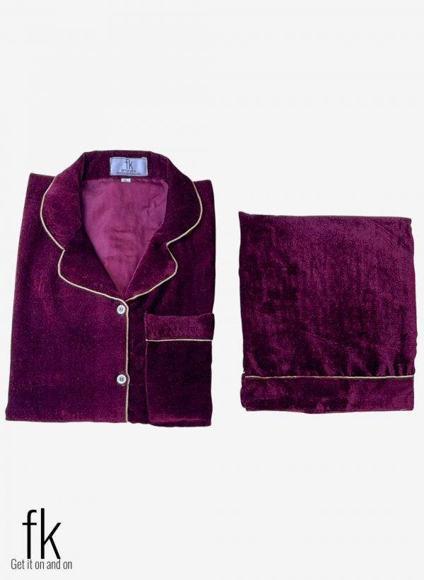 Mehroon Velvet Beautiful Nightwear, perfect for wedding nights