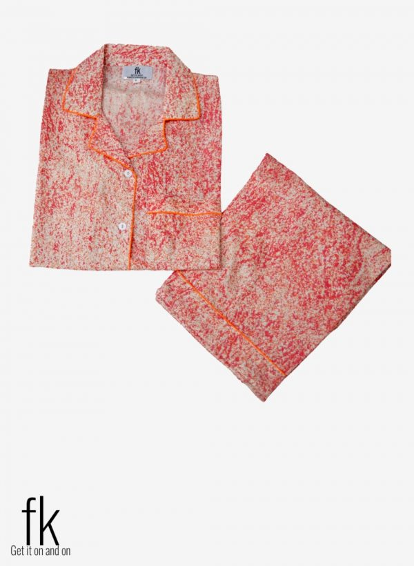Pink Abstract Cotton Sleepwear with Shirt and Trouser (Complete Sleeping Suit) For Women and Girls