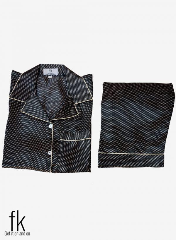 White Dot Silk Fancy Nightwear for you to look classy
