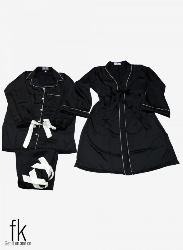 Black Silk with Gown Set in knot style to make you more classy