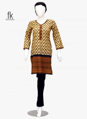 Wave Style Elegant Kurti in Brown&Black Color