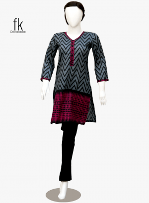 Wave Style Elegant Kurti in Grey&Black Color