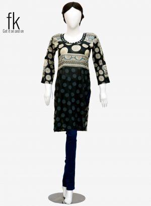 Zhong Design Fancy Kurti for Ladies in Black Color