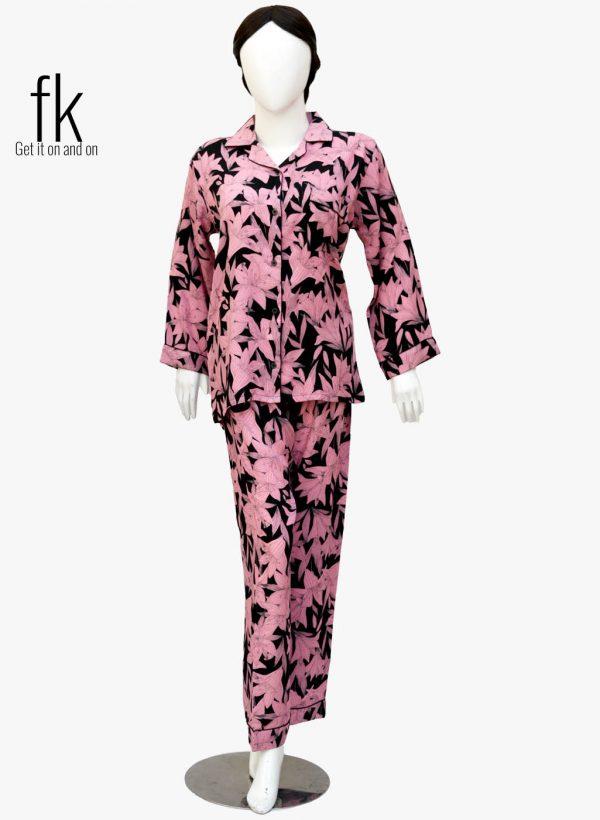 Pink Flower Elegant Nightsuit for Stylish Ladies