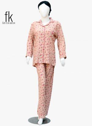 Mustard Pink Flowers Stylish Sleepwear for Ladies