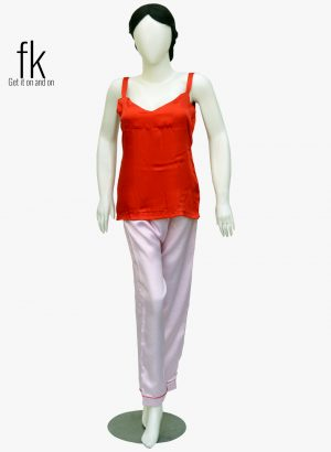 Pink Dot Silk with Red Silk Stylish Camisole