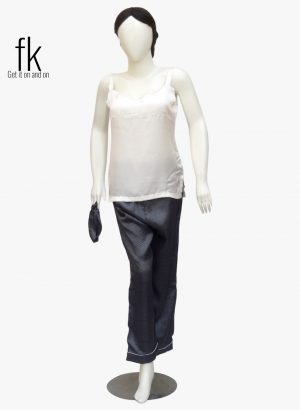 White Dot Silk with white camisole