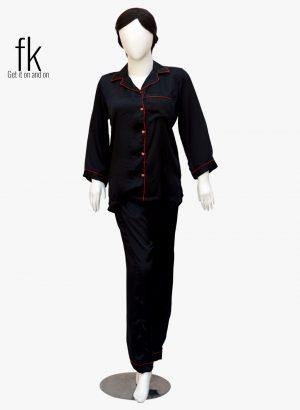 Black Silk With Red Piping Classy Sleepwear