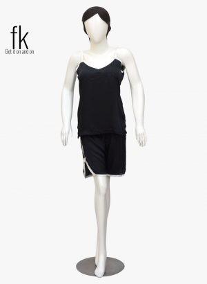 Black Silk Cami with Short in White Piping Elegant Sleepwear