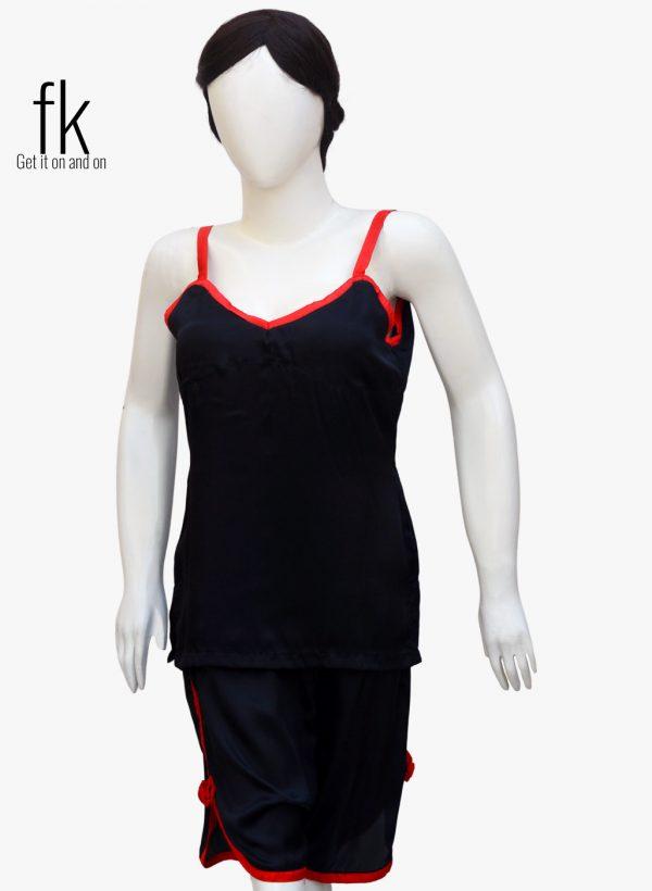 Black Silk Cami with Short in Red Piping Elegant Sleepwear